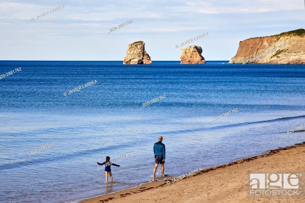 Stock Photo: The Twin Rock, Beach, Hendaye, Aquitaine, Pyrenees Atlantiques, France.