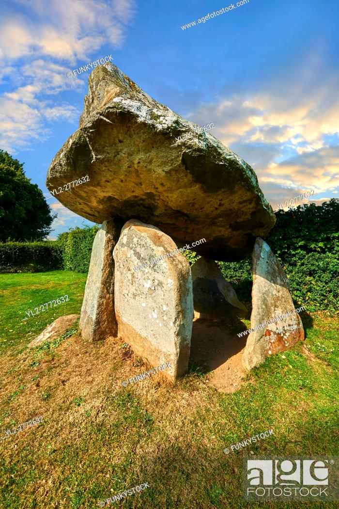Stock Photo: Carreg Coetan Quoit is a megalithic burial dolmen from the Neolithic period, circa 3000 BC, near Newport, North Pembrokeshire, Wales.