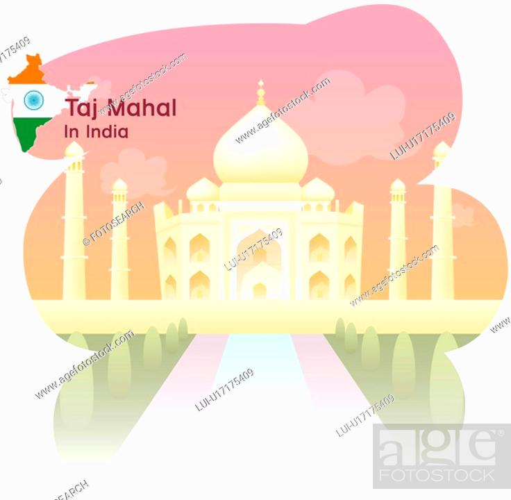 Stock Photo: national flag, TajMahal, map, travel, tourism, sightseeing, india.