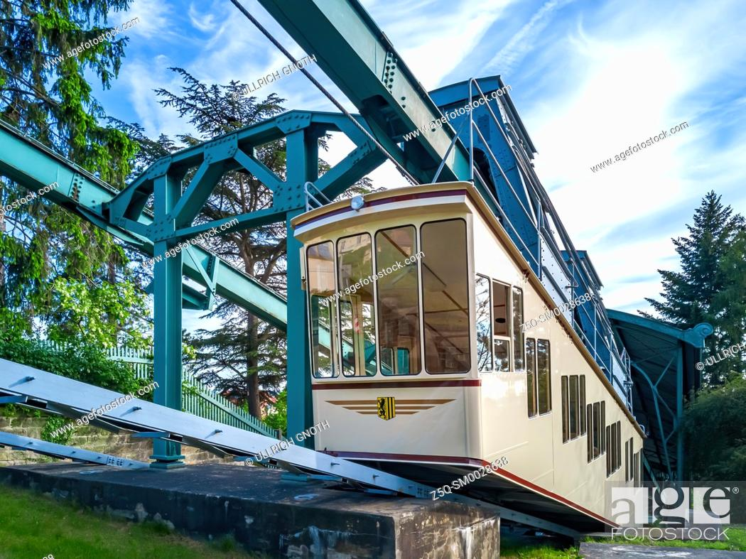 Stock Photo: The Dresden Suspension Railway in the district of Loschwitz enters the valley station, Dresden, Saxony, Germany.