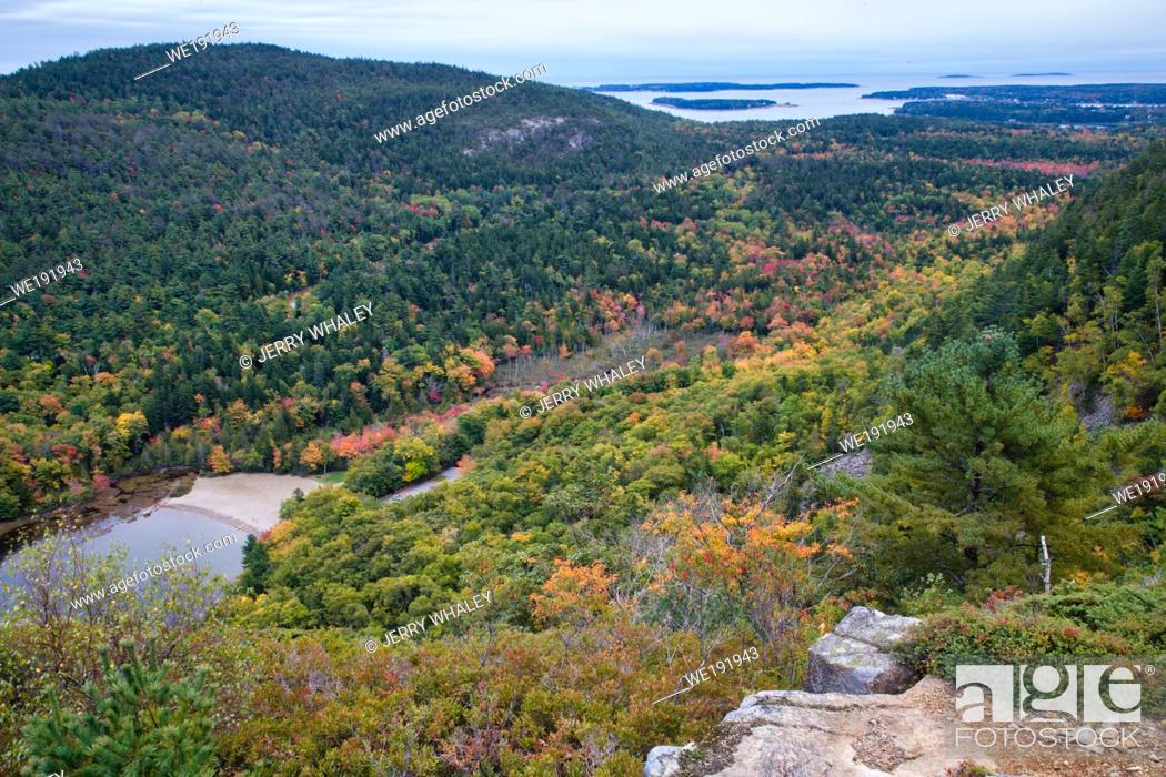 Stock Photo: Weathered Granite and Scenic View from Beech Mountain Trail in Acadia National Park on Mount Desert Island, Maine.