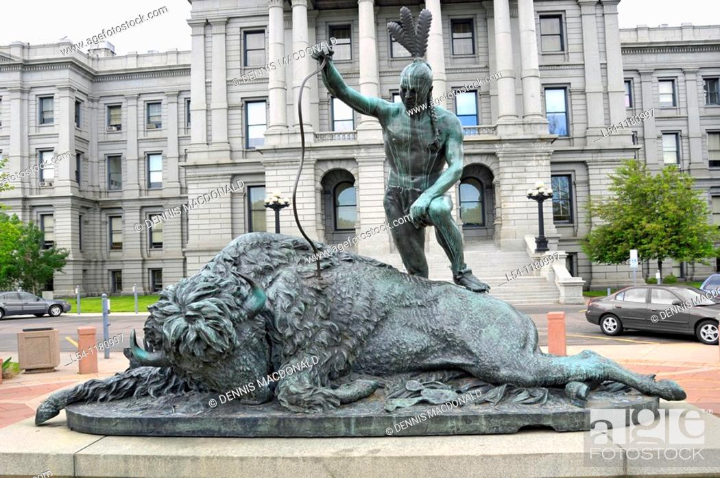 Stock Photo: Closing Era Statue at State Capitol Building Denver Colorado.