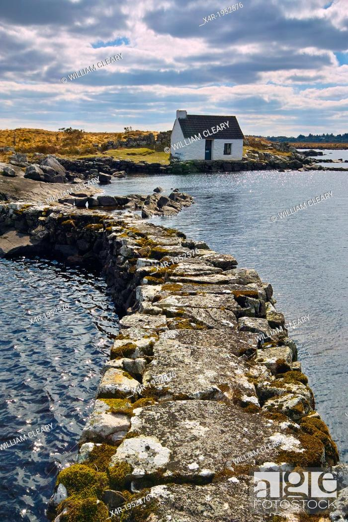 Stock Photo: Boatkeepers office at the shore of a small lake in Connemara, near Maams Cross, County Galway, Ireland.