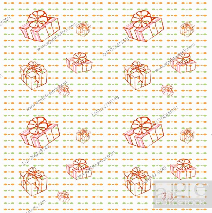 Stock Photo: indoors, wallpaper, background, package, present, pattern.