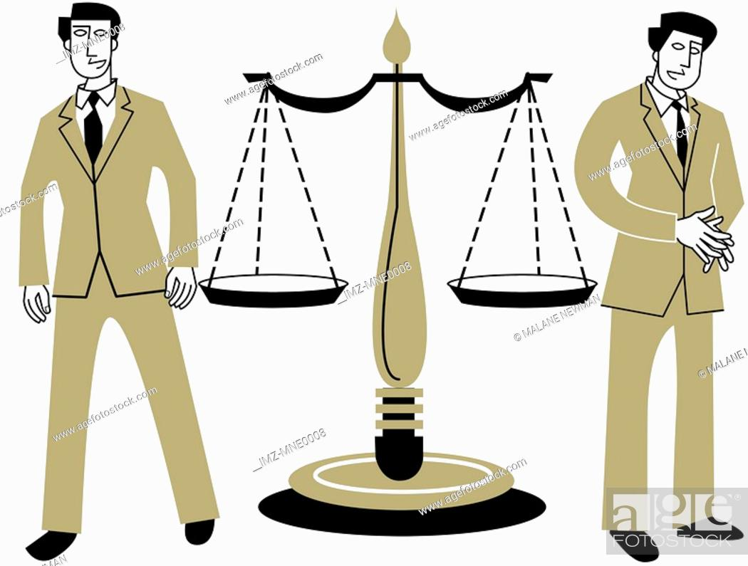 Stock Photo: The Scales of Justice with a man standing on either side.
