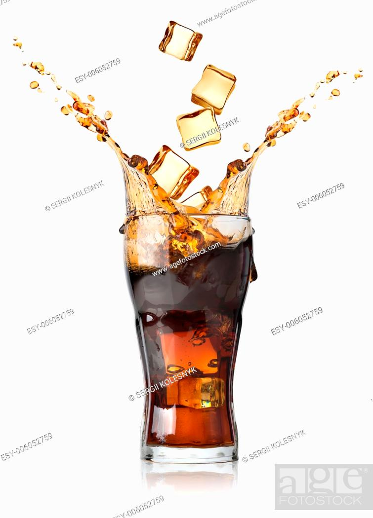 Stock Photo: Cola with ice cubes isolated on white.