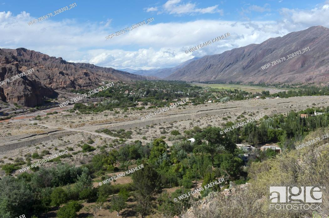 Stock Photo: View of the valley of Quebrada de Humahuaca from the fortress of Tilcara (Pucara de Tilcara) located above todays city of Tilcara in the Andes Mountains.