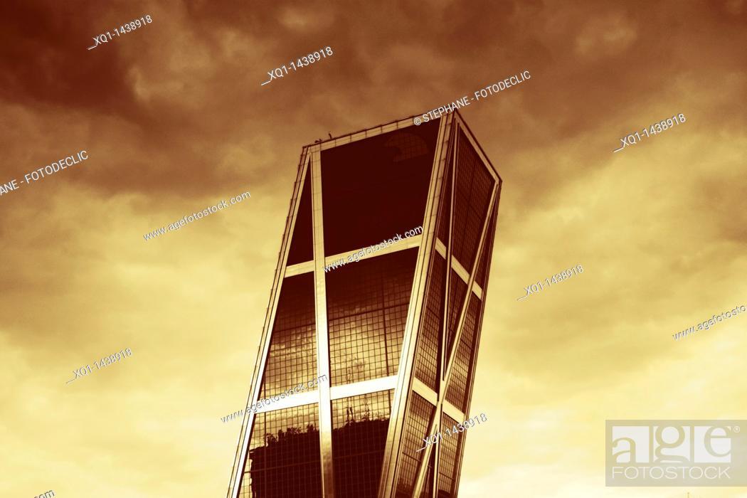 Stock Photo: Kio tower, in Plaza Castilla, Madrid Black and White sepia toned copy.