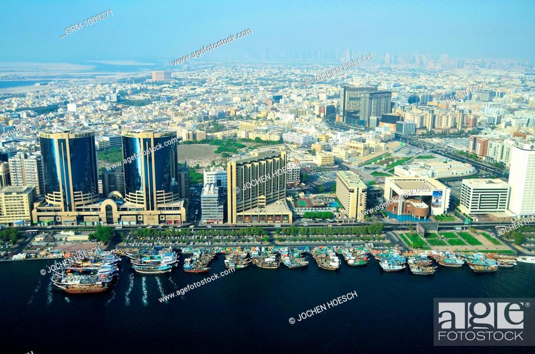 Stock Photo: Aerial view of the Twin Towers and Creek, Deira, Dubai, UAE.