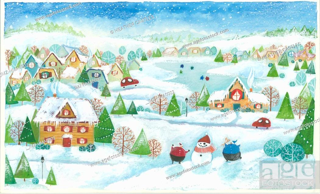 Stock Photo: winter village.
