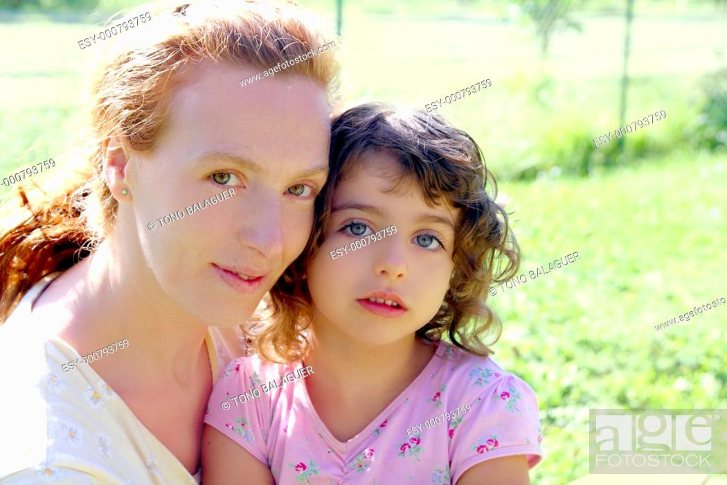 Stock Photo: Daughter and mother together outdoor park portrait in nature.