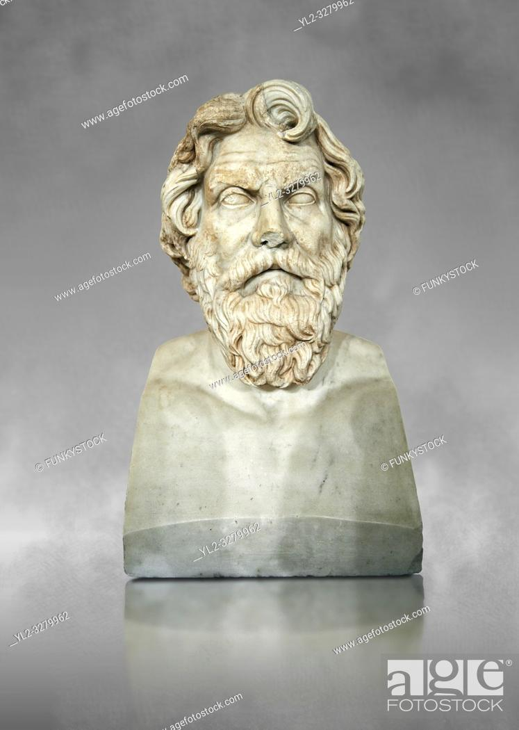 Stock Photo: Roman marble sculpture bust of Antisthenes, 2nd century AD copy from an original 340-330 BC Hellanistic Greek original, inv 6159, Museum of Archaeology, Italy.