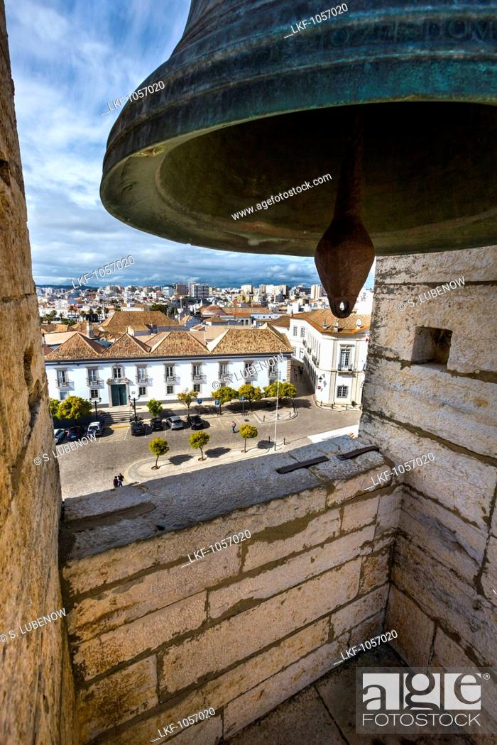 Stock Photo: View from the bell tower, Se Cathedral, Largo da Se, Faro, Algarve, Portugal.