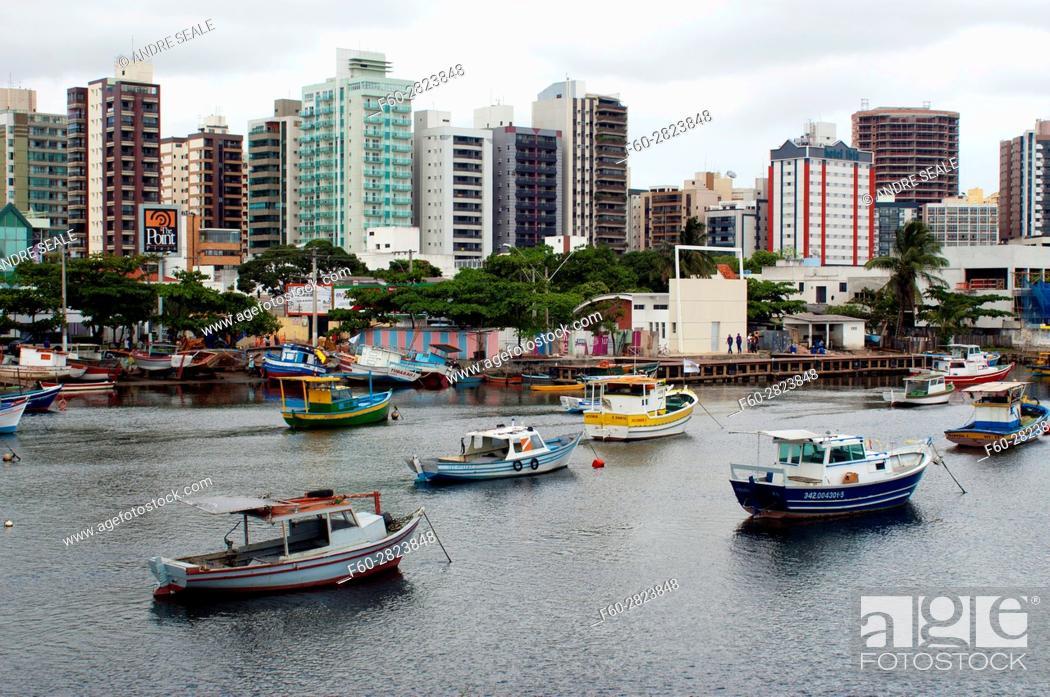 Stock Photo: Fishing boats at Santa Maria River, Pontal de Camburi, Vitoria, Espirito Santo, Brazil.