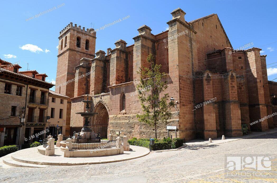 Stock Photo: Mora de Rubielos, Ex-Colegiata de Santa Maria (14th century). Gudar-Javalambre, Teruel province, Aragon, Spain.
