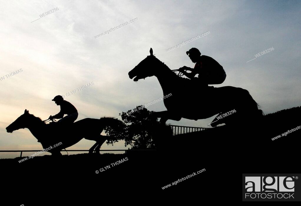 Stock Photo: Horses silhouetted as they go over a jump at Towcester Racecourse.