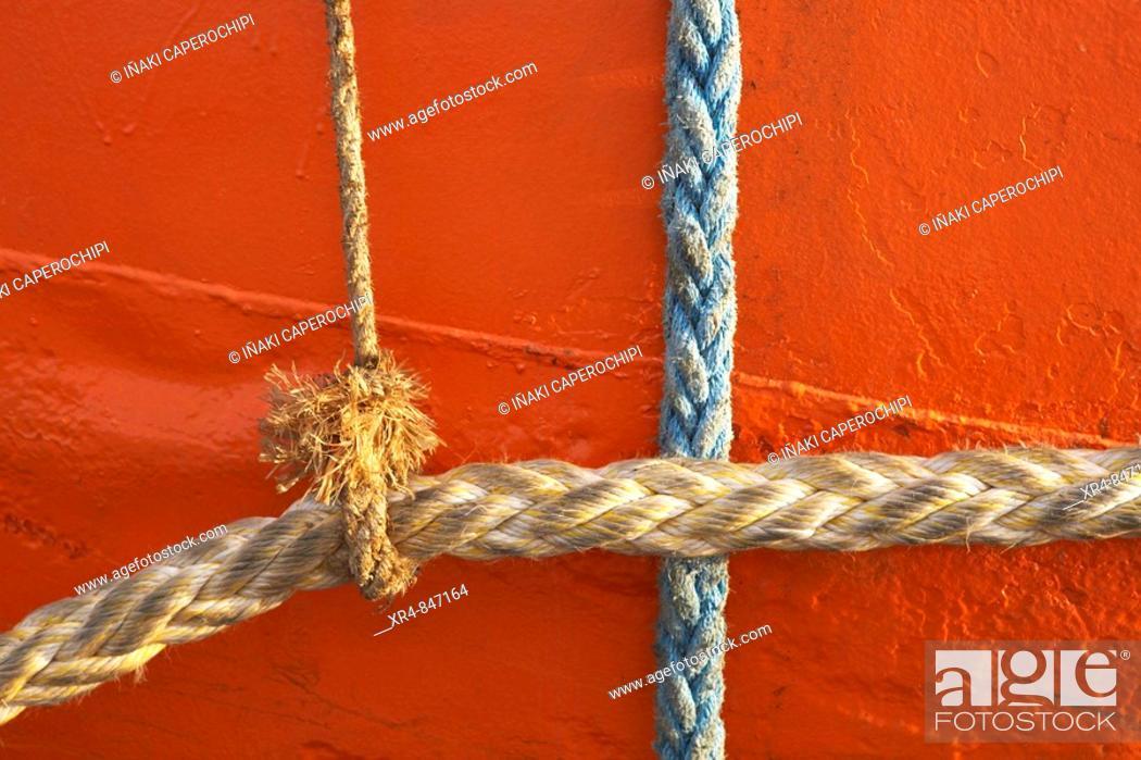Stock Photo: Ropes, ria of Zumaya, Guipuzcoa (Gipuzkoa), Basque Country, Spain.