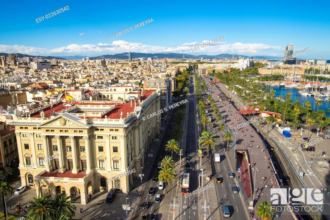 Photo de stock: Aerial view of Passeig de Colom and the skyline of Barcelona, Spain.