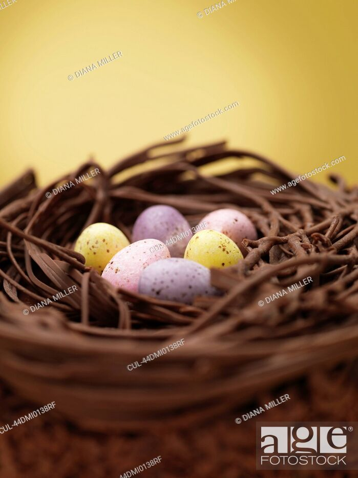Stock Photo: Close up of chocolate eggs in nest.