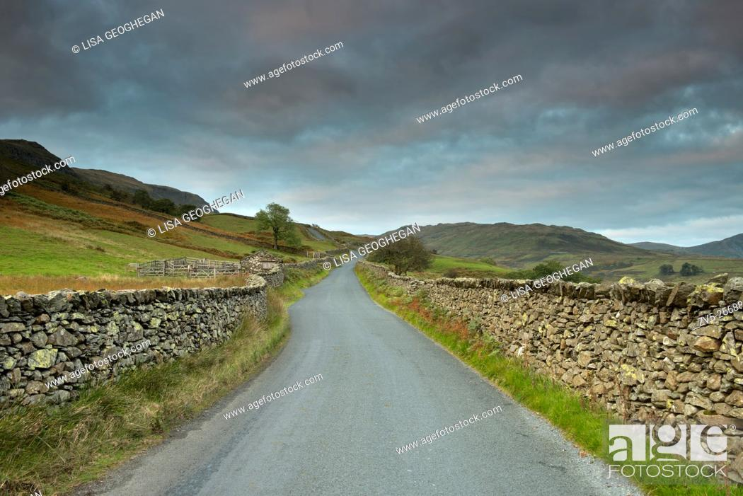 Stock Photo: The Struggle, a narrow road which runs from Ambleside, beside Lake Windermere, to the top of the Kirkstone Pass, Lake District, Cumbria, Uk, Gb.