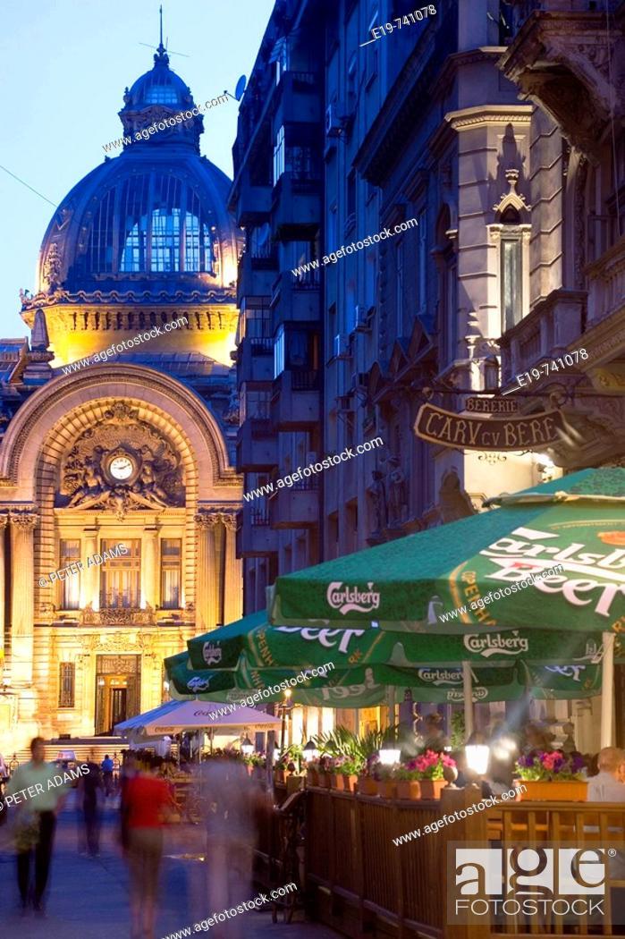 Stock Photo: Economic Consortium Palace & outside of Caru cu Bere Hall, Bucharest, Romania.