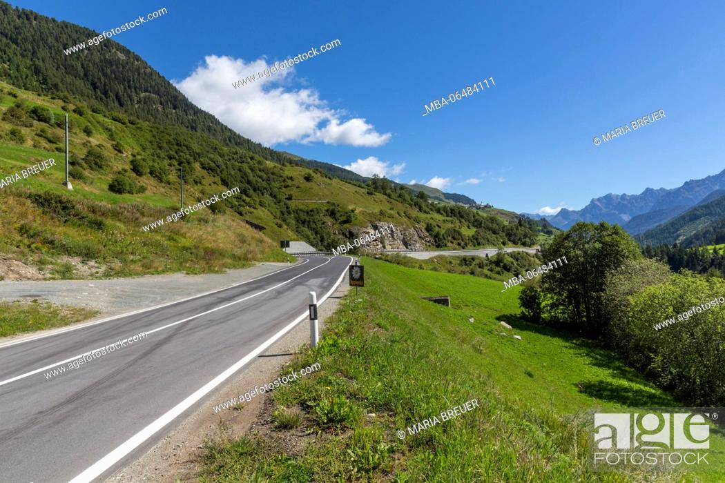 Stock Photo: on the road on national road 27, behind Guarda, Inntal, Swiss national park, the Engadine, canton Graubünden, Switzerland.