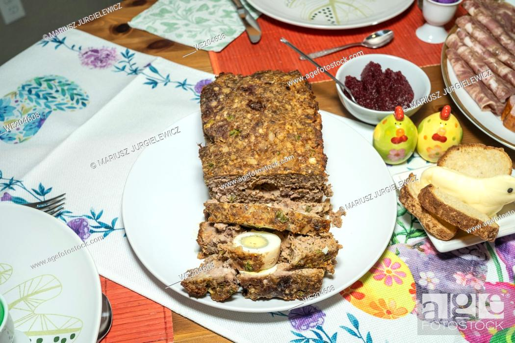 Stock Photo: Easter Sunday is celebrated with an Easter breakfast. Easter breakfast includes the foods blessed on Easter Saturday as well as other traditional Easter foods.