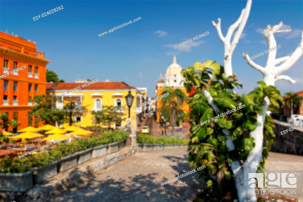 Stock Photo: Background blur of the beautiful walled city of Cartagena de Indias, Colombia.