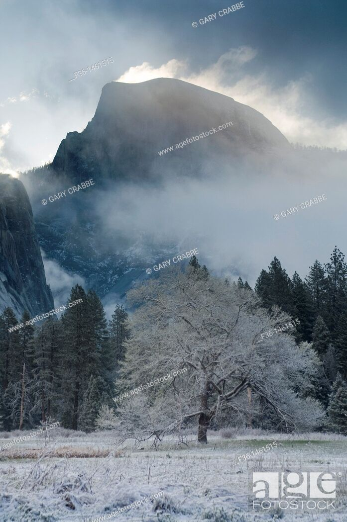 Stock Photo: Clouds over Half Dome at sunrise after Spring snow storm, Yosemite Valley, Yosemite National Park, California.