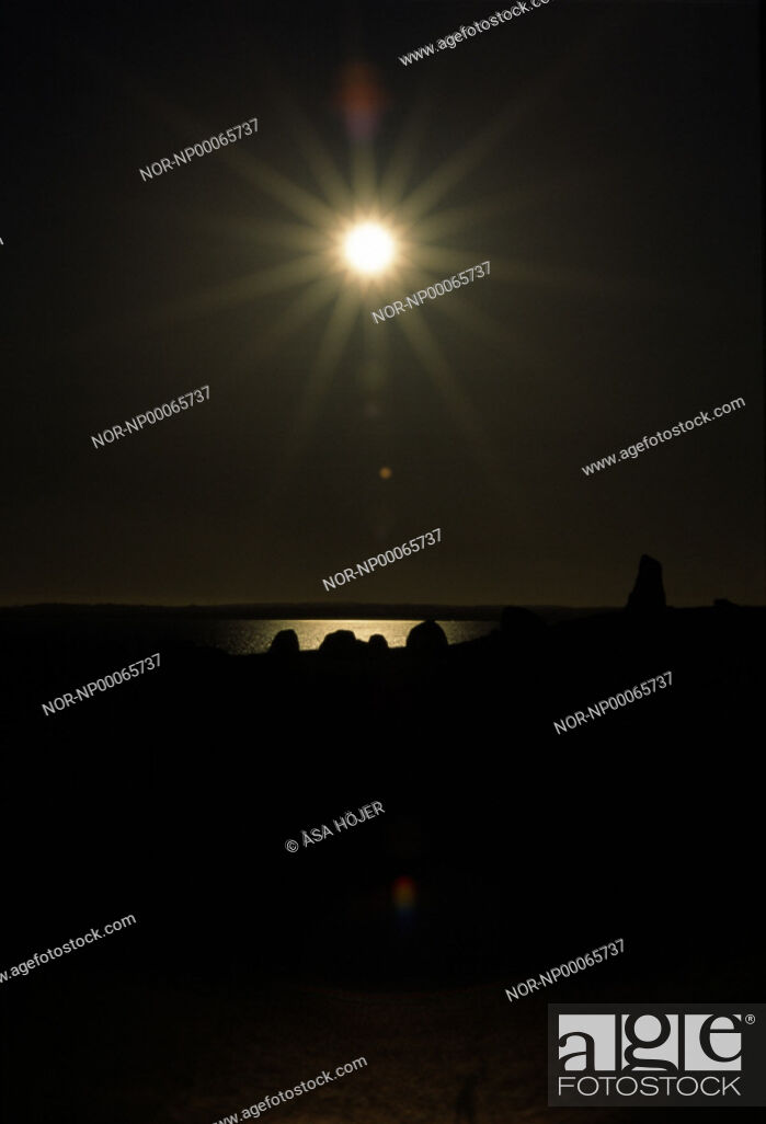 Stock Photo: Sunlight over the Ale Stones in Skåne, Sweden.