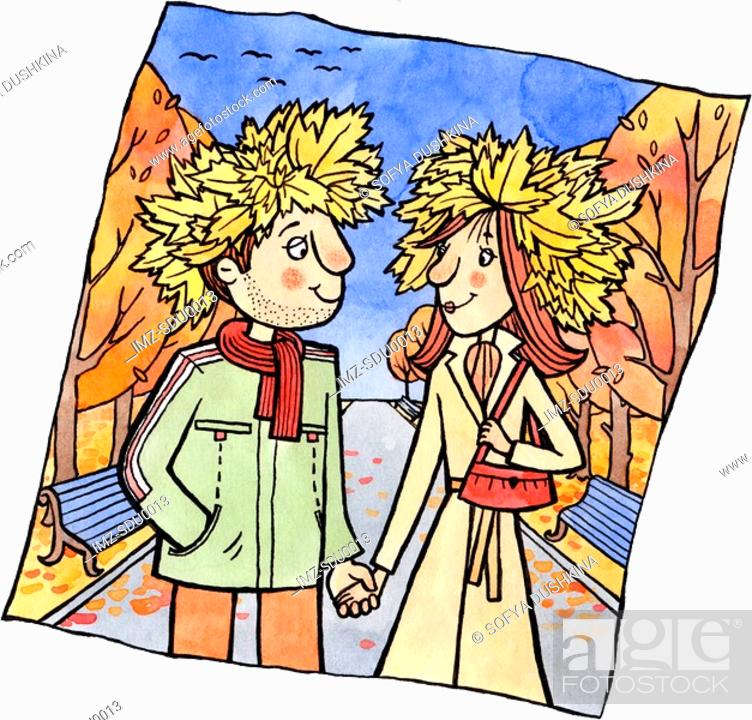 Stock Photo: A couple holding hands in a park and wearing hats made of autumn leaves.