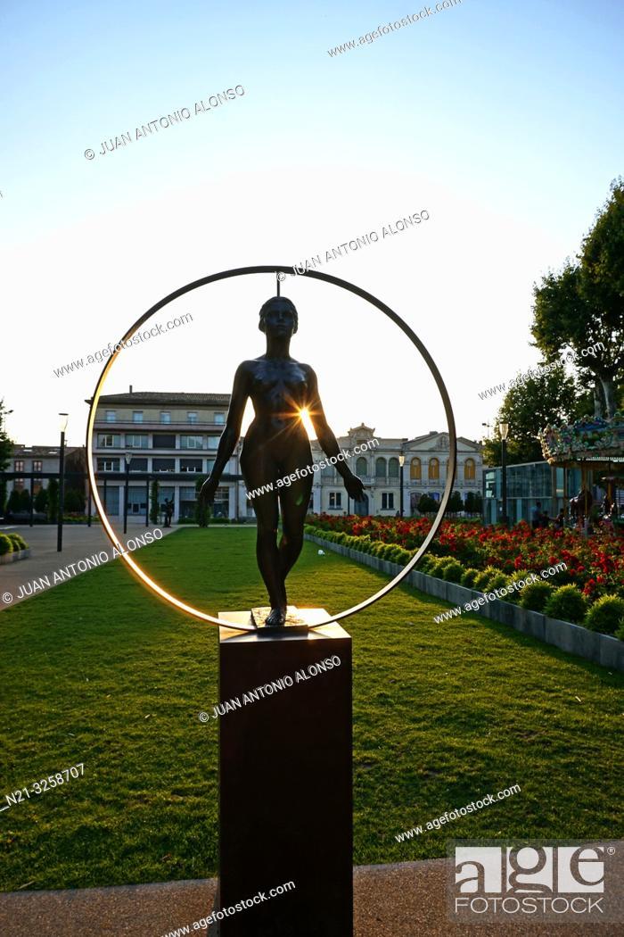 "Stock Photo: Catalan artist Marta Solsona's sculpture ""The Peace"". Carcassonne. Languedoc-Roussillon, France."
