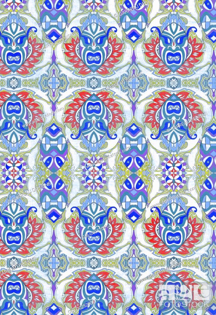 Stock Photo: Repeating tribal design.