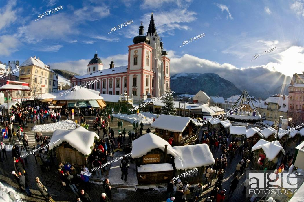 Stock Photo: Christmas market in front of the Mariazell Basilica on the main square of Mariazell, Upper Styria, Styria, Austria.