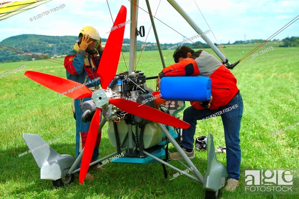 Stock Photo: Microlight preparing for take-off.
