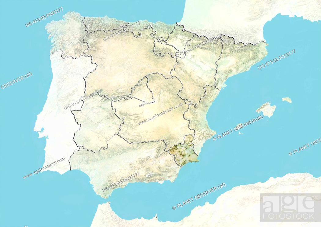 Map Of Spain Showing Murcia.Relief Map Of Spain Showing The Region Of Murcia This Image Was