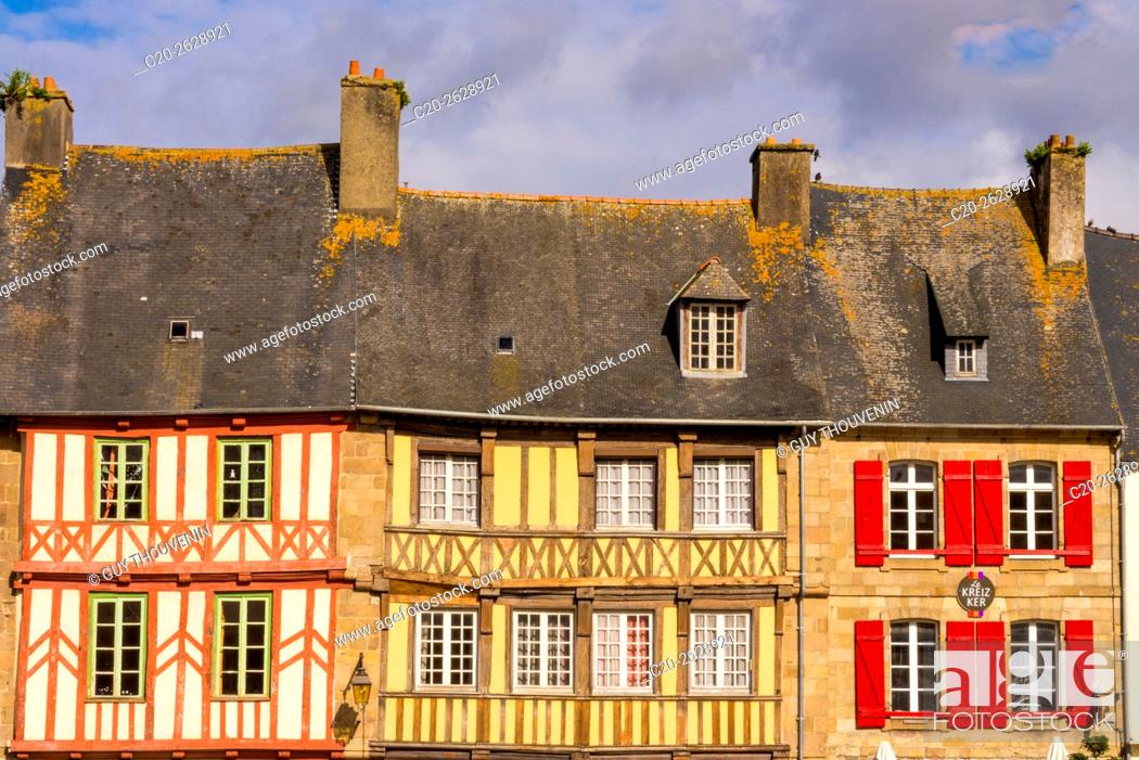 Stock Photo: half timbered houses, old town, Treguier, Cotes d'Armor, 22, Brittany, France.