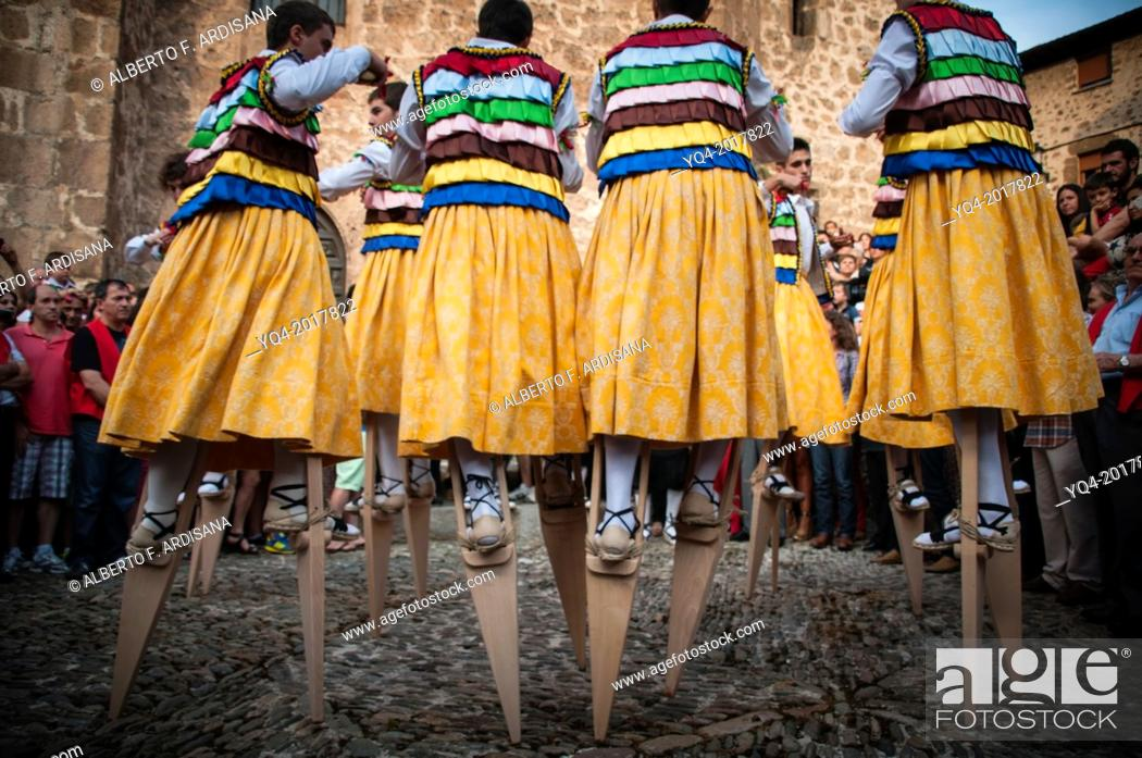 Stock Photo: The dance of the stilts. Anguiano. The Rioja.Spain.