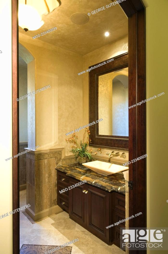 Leather Mirror Frame, Dark Brown Wood Bathroom Mirror