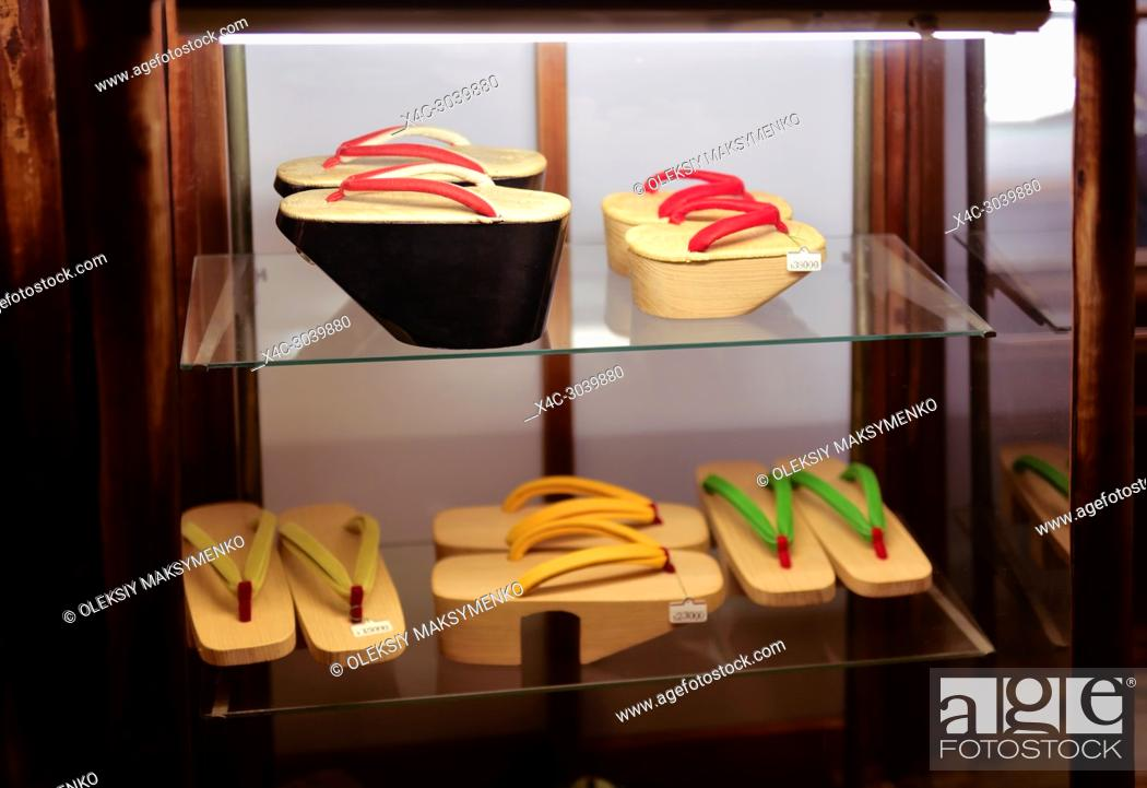 Photo de stock: Expensive vintage traditional Japanese wooden geta shoes on a store display in Gion Kyoto Japan.