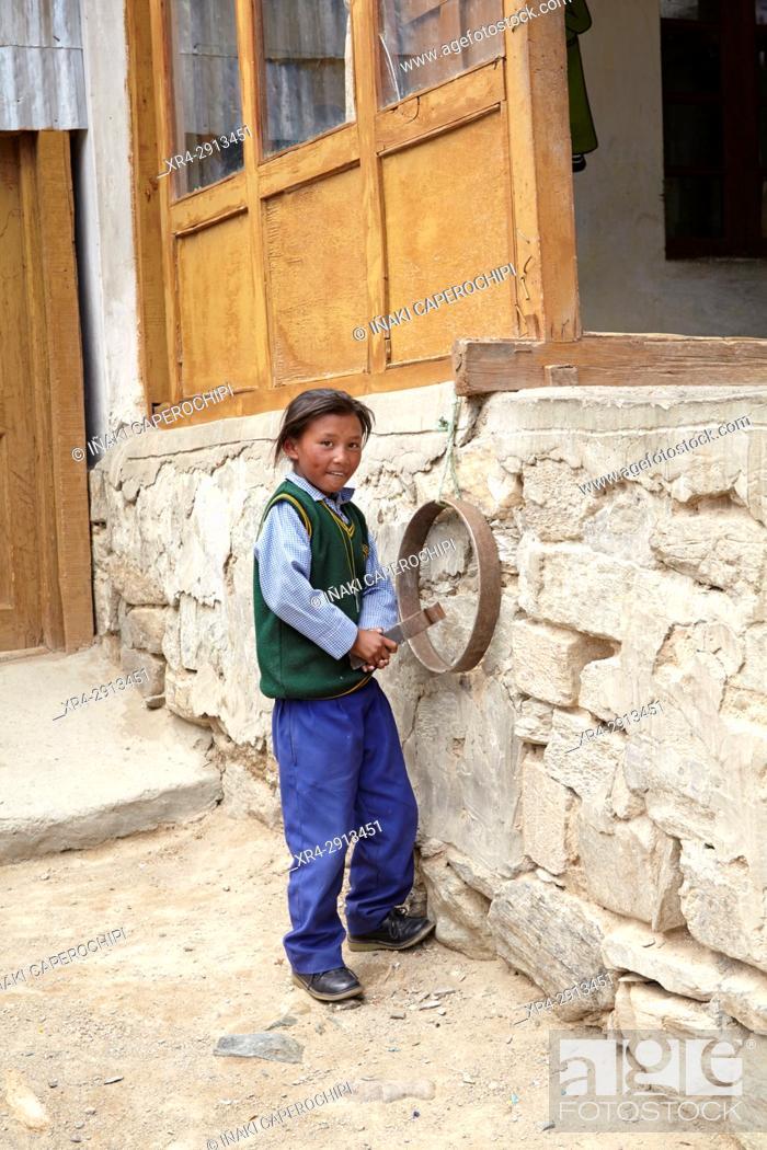 Stock Photo: Sumdho School, Sumdho, Ladakh, India.