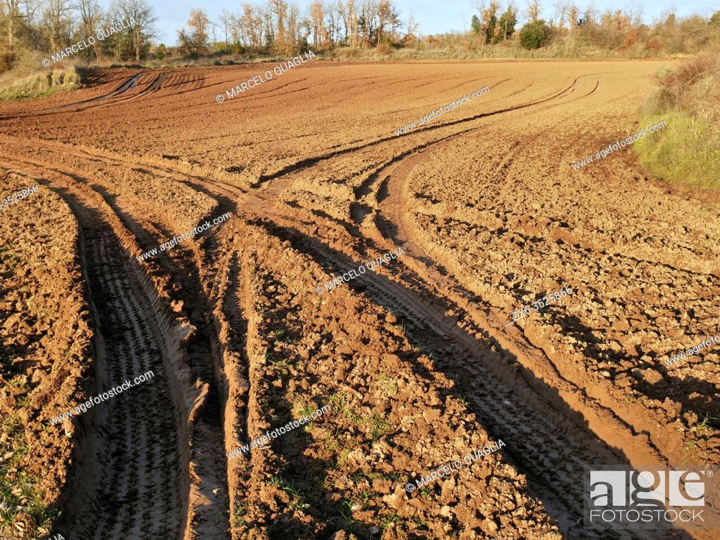 Stock Photo: Ploughed land on a winter afternoon. Sant Martí d'Albars village countryside. Lluçanès region, Barcelona province, Catalonia, Spain.