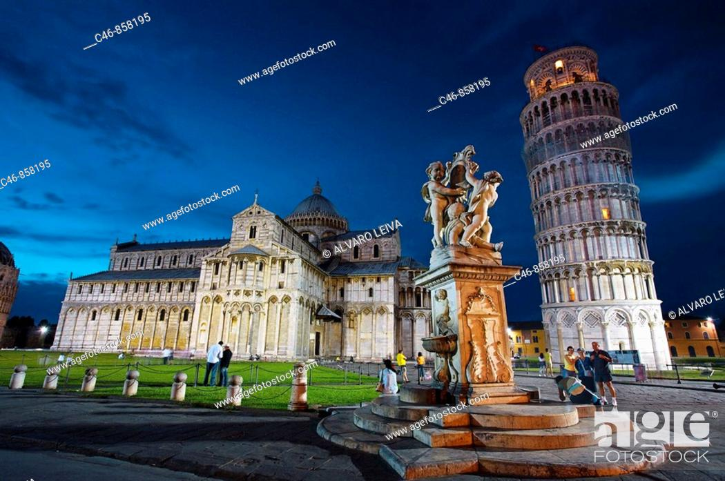 Stock Photo: Duomo and Leaning tower, Piazza dei Miracoli, Pisa. Tuscany, Italy.