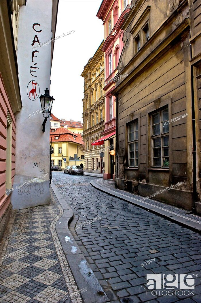 Stock Photo: Czech Republic, Prague, old town, paved stone street.