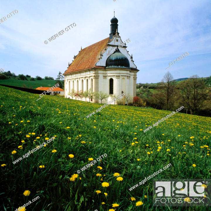 Stock Photo: Germany, Baden-Wurtemberg, Rottenburg am Neckar, Pilgrimage Church Saint Mary in the Weggen Valley, convent church of the Franciscan monastery Weggental.