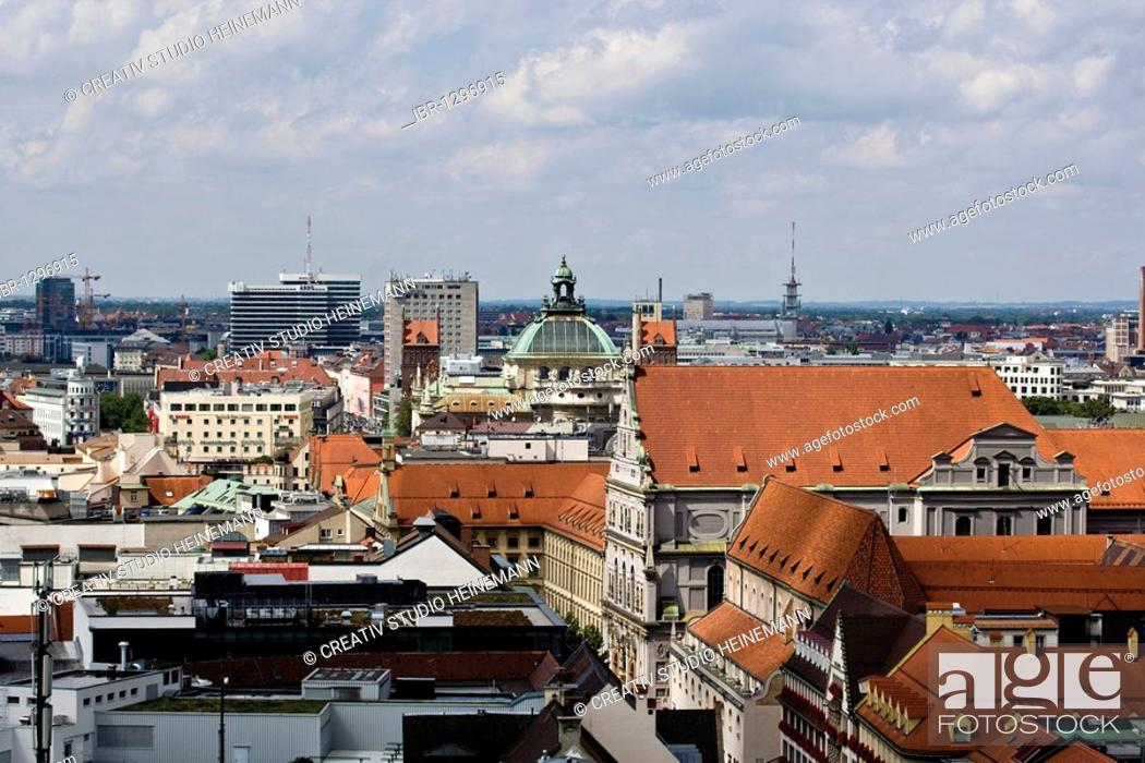 Stock Photo: View of Munich from the Alter Peter church, Munich, Bavaria, Germany, Europe.