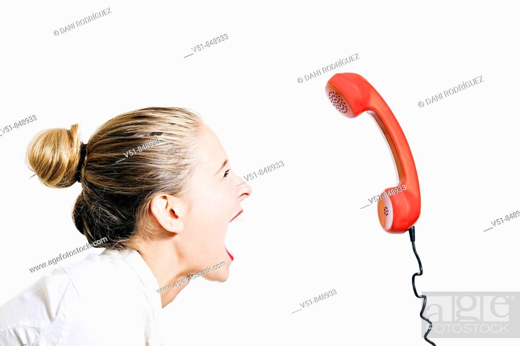 Stock Photo: Woman screaming, desperate because of the stress.