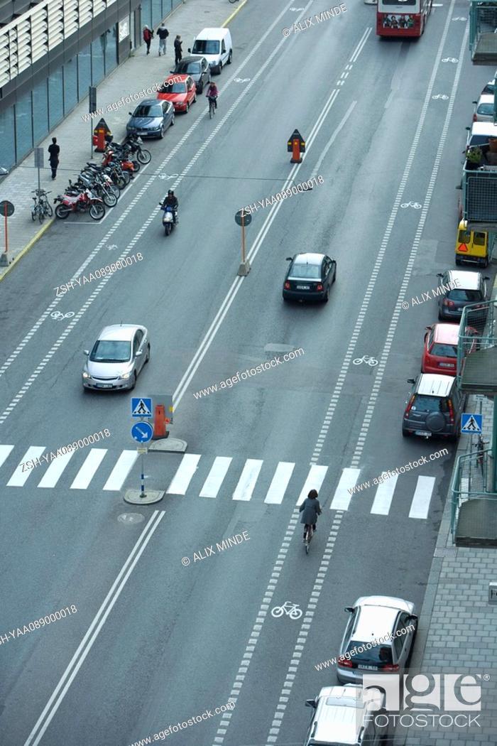 Stock Photo: Sweden, Stockholm, urban street with light traffic.