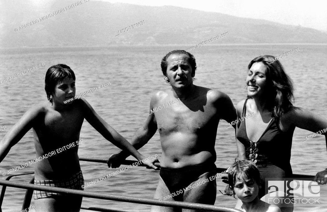 Domenico Modugno with his wife Franca Gandolfi and his sons Massimo ...