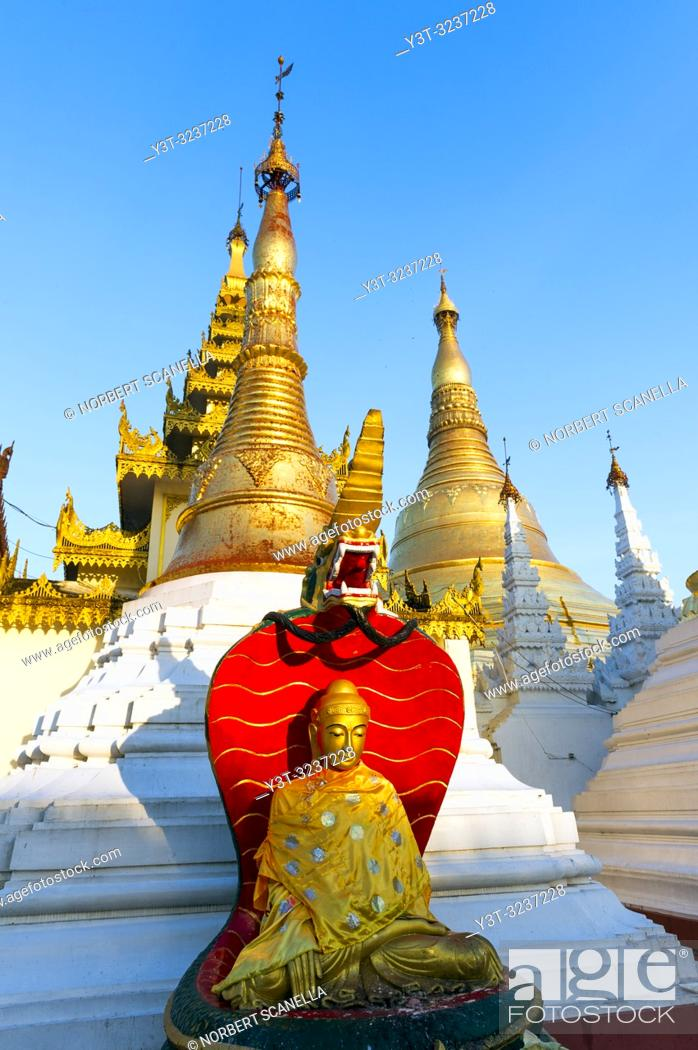 Stock Photo: Myanmar (formerly Burma). Yangon. (Rangoon). The Shwedagon Pagoda Buddhist holy place is the first religious center of Burma because according to the legend.